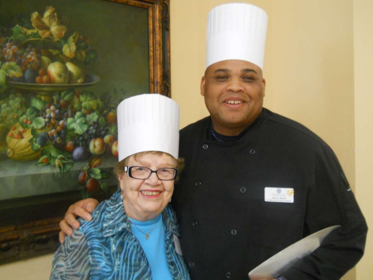 Wilda Wilson and Chef Derone Martin look forward to a Lights, Camera, Cooking class at Parkway Place.