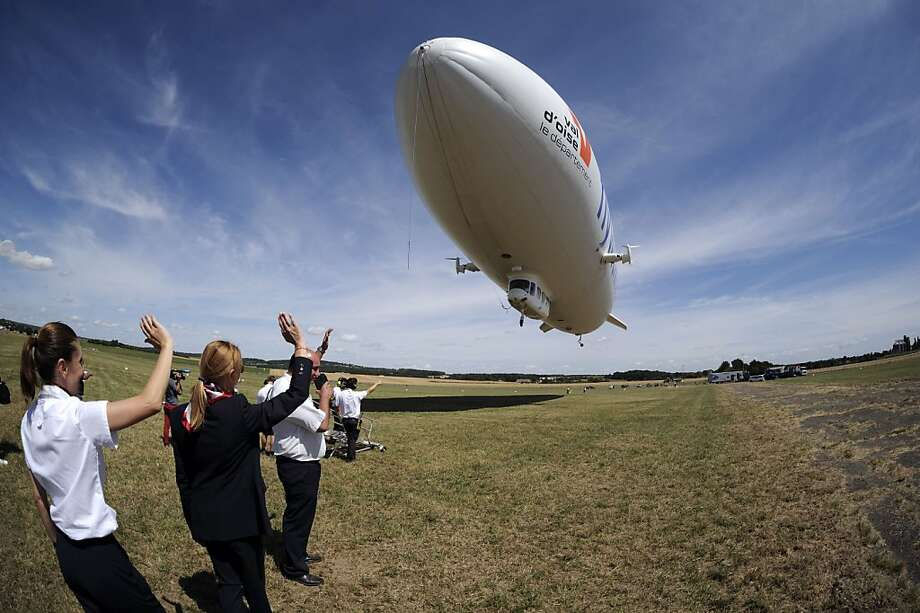 French fly: A zeppelin takes off in Cormeilles-en-Vexin, France, for a tourist flight 