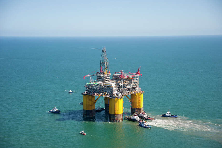Shell's massive Olympus tension leg platform set sail from Ingleside, Texas for a 425 mile trek to its final home on the Mars Field in the Gulf of Mexico. Photo: Royal Dutch Shell