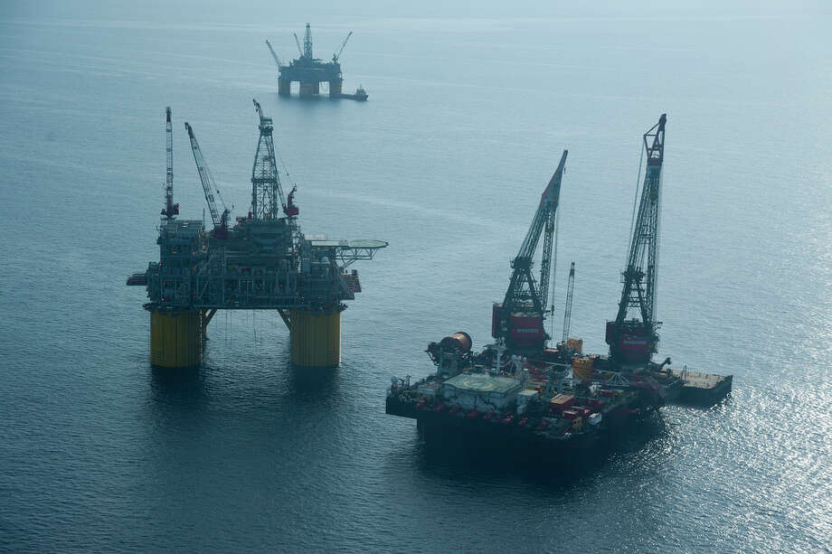 Shell's new Olympus platform is secured near to Shell's Mars platform in the Gulf of Mexico. Photo: Royal Dutch Shell