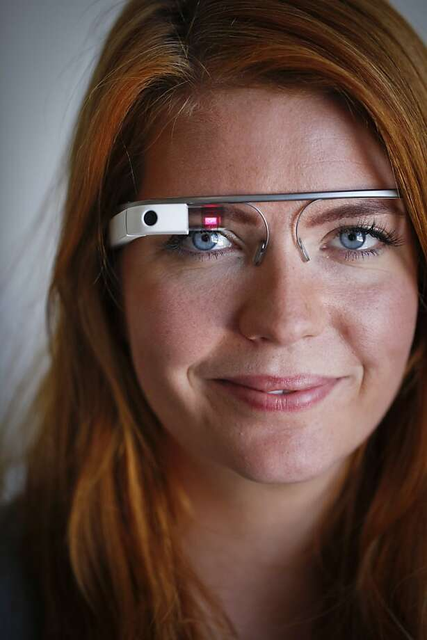 Isabelle Olsson, the industrial designer for Google Glass, models a pair of Google Glass at the San Francisco, Calif., Explorer Zone on Friday, July 26, 2013. Photo: Russell Yip, The Chronicle