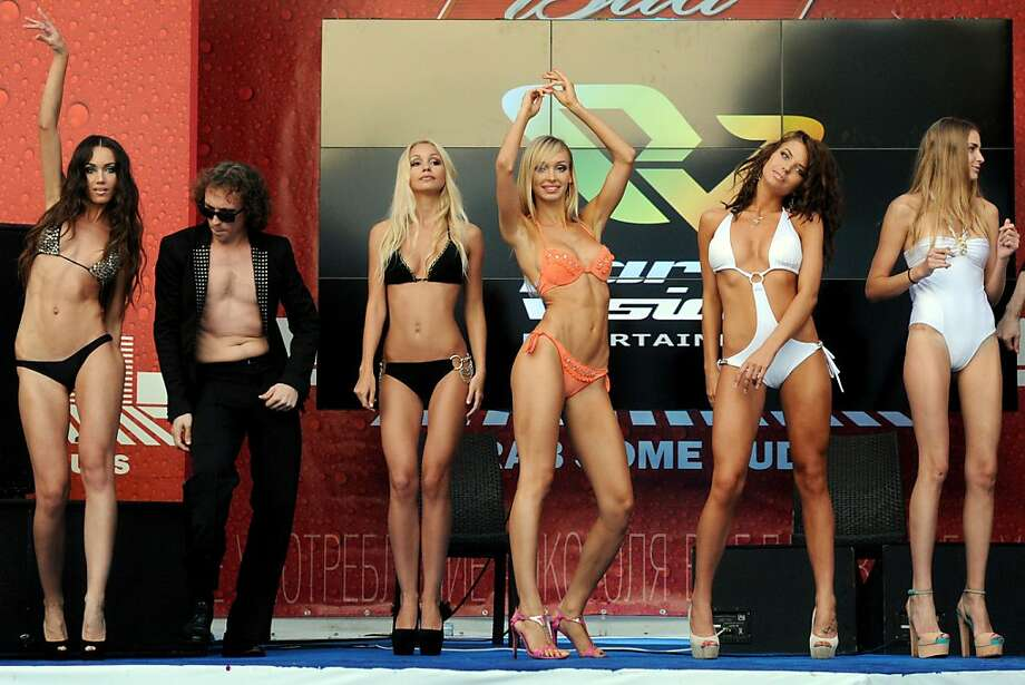 "Nyet t-shirt contest: Actual Getty caption - ""Participants take part in a bikini parade during the Miss Bikini Russia contest in Moscow."" Apparently the bikini is optional. Photo: Vasily Maximov, AFP/Getty Images"
