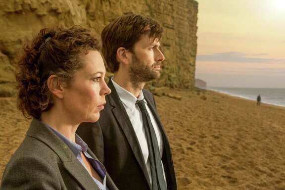 Broadchurch, Season 1, Gallery, DS Ellie Miller (Olivia Colman) and DI Alec Hardy (David Tennant)
