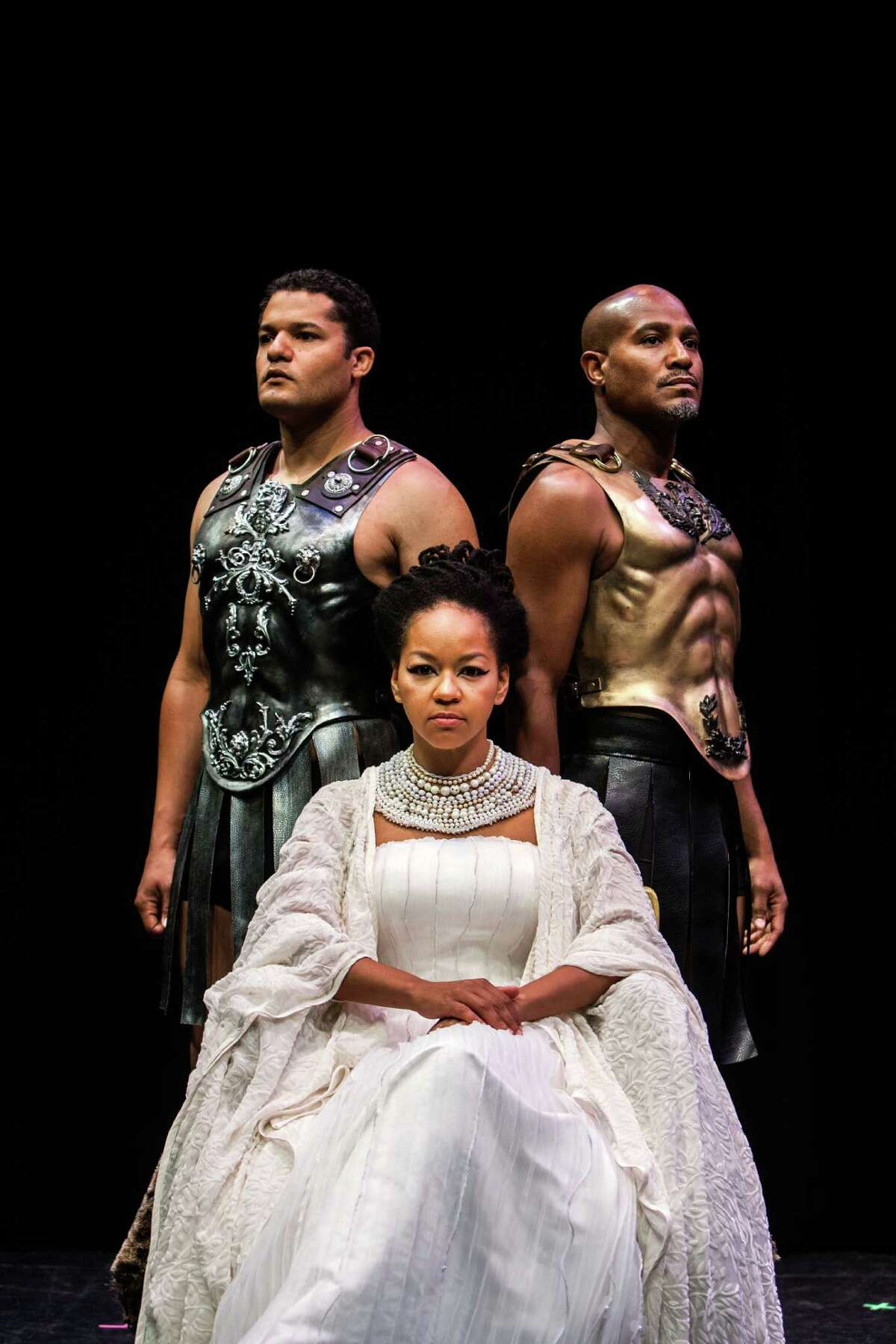 """Brandon Dirden, Seth Gilliam and Crystal Dickinson who will star as Ceasar, Cleopatra and Antony in Shakespeare's """"Antony and Cleopatra"""" at the Wortham Theater on the campus of University of Houston July 20, 2013. (Michael Starghill, Jr.)"""