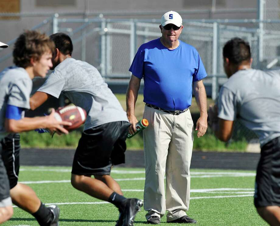 Somerset head coach Sonny Detmer watches drills during football practice, Monday, August 5, 2013, at Somerset High School in Somerset, Texas. (Darren Abate/For the Express-News) Photo: Darren Abate, Darren Abate/Express-News