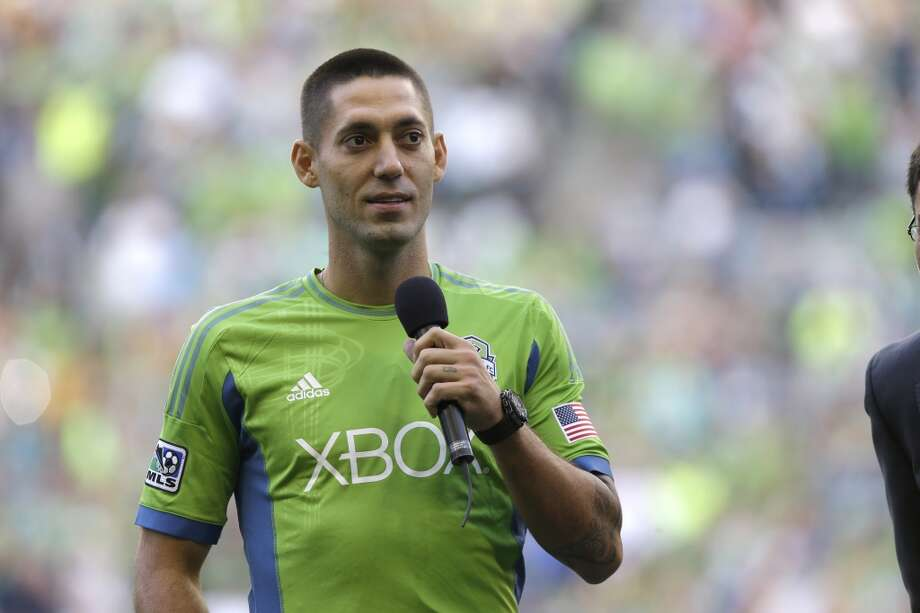 Clint Dempsey addresses the crowd after he was introduced as the newest member of the team Saturday. Photo: Ted S. Warren, Associated Press
