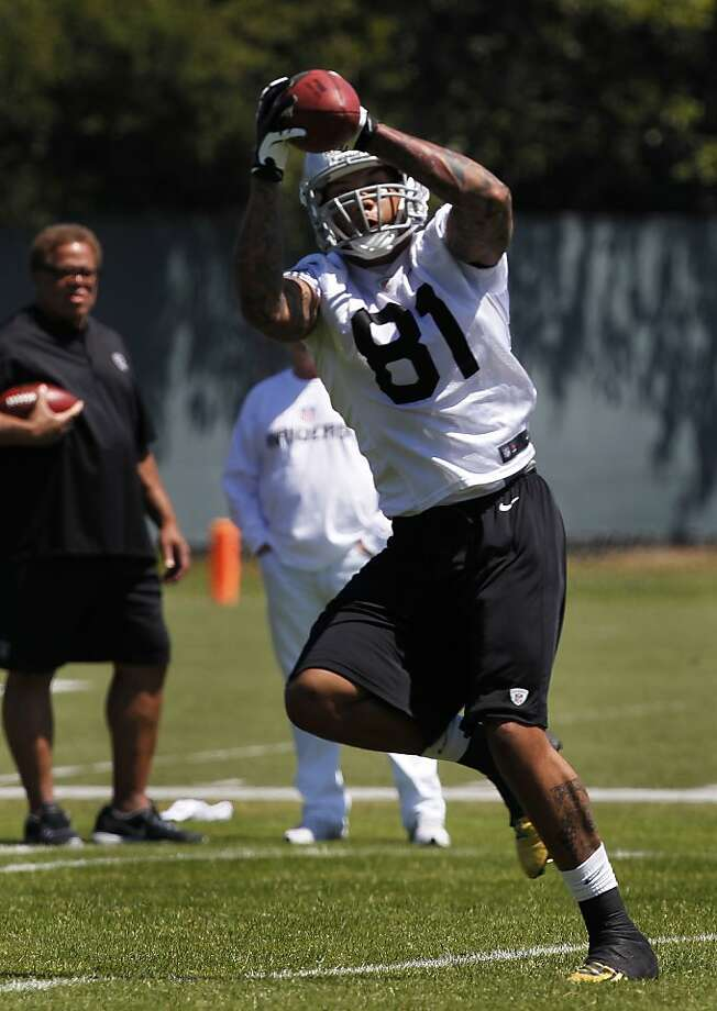 Mychal Rivera has shown impressive blocking as well as receiving skills. Photo: Paul Chinn, The Chronicle