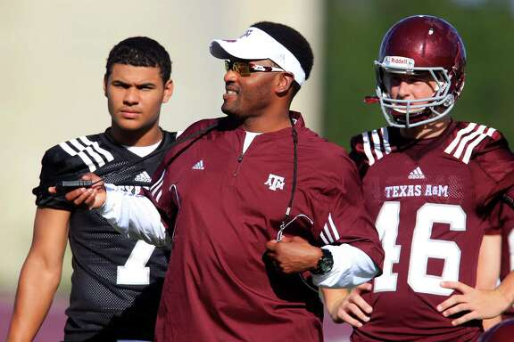 A&M coach Kevin Sumlin is expected to call on true freshman Kenny Hill, left, to start Saturday.