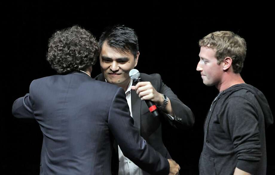 "FWD.us founders Mark Zuckerberg and Joe Green, hug Jose Antonio Vargas before the screening of Vargas's documentary, ""Documented,"" at the Yerba Buena Center for the Arts  on Monday, August 5, 2013, in San Francisco, Calif. Photo: Carlos Avila Gonzalez, The Chronicle"