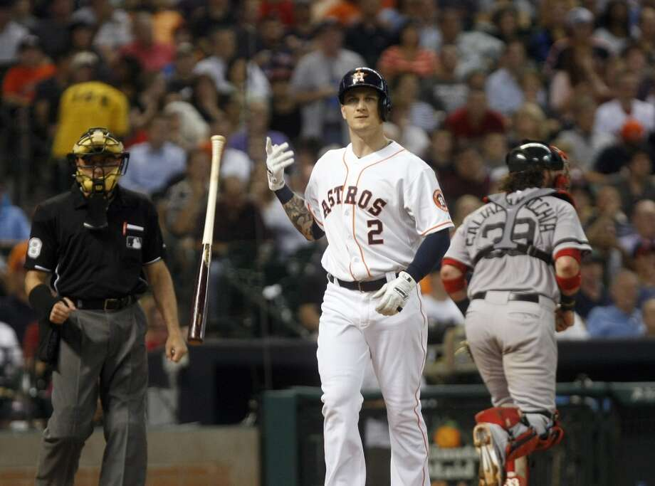 Brandon Barnes of the Astros reacts after striking out against the Red Sox. Photo: Johnny Hanson, Houston Chronicle