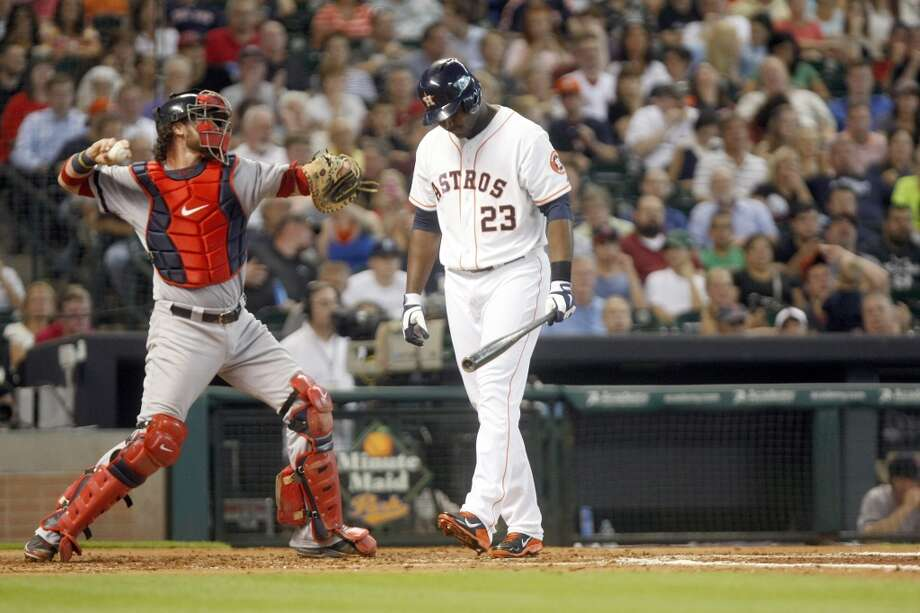 Chris Carter of the Astros reacts after striking out against the Red Sox. Photo: Johnny Hanson, Houston Chronicle