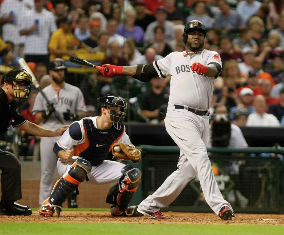 David Ortiz angrily declined to discuss the suspensions for performance-enhancing drug use before the game, and Boston's shutout loss that included this fourth-inning strikeout did nothing to improve his mood. Photo: Johnny Hanson, Staff / © 2013  Houston Chronicle