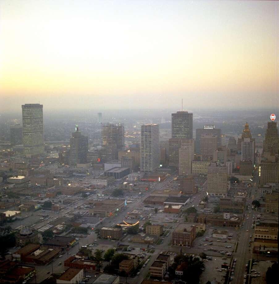 Looking west over downtown Houston from what would now be the George R. Brown convention center. Photo: Chronicle File