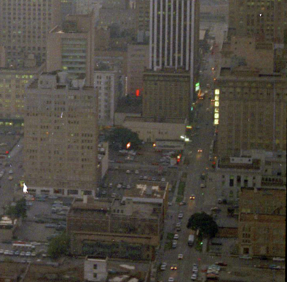 Looking west down Rusk. The building with the square lights at right is the Texaco Building. Photo: Chronicle File