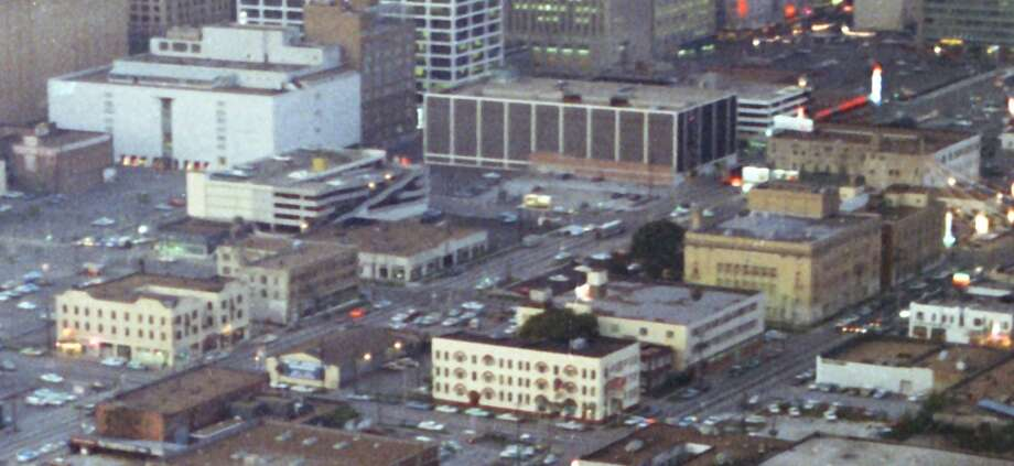 The large white building in the upper left is Sakowitz. Photo: Chronicle File