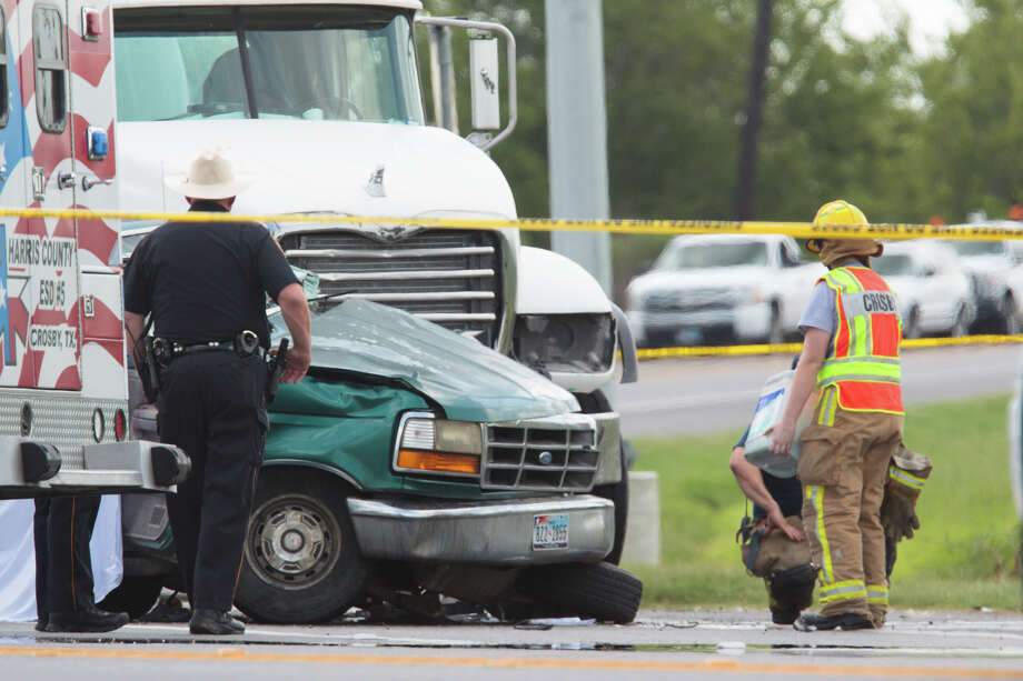 A man died and two other people were injured when a pickup and cement truck collided Monday morning in far east Harris County. / Copyright: 2011 - Armstrong Action Photography