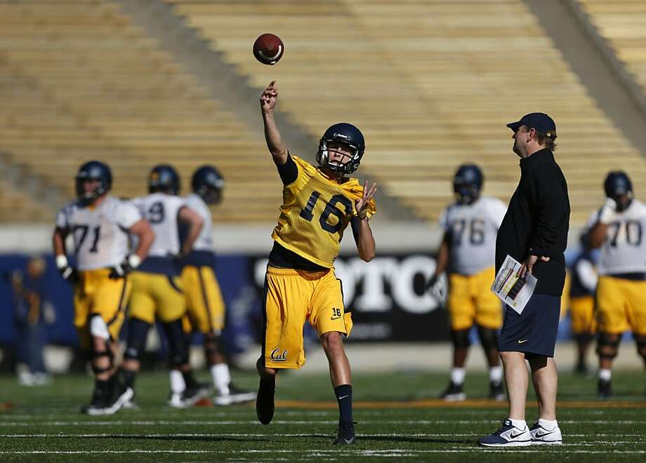 Quarterback Jared Goff, a true freshman from Marin Catholic, began Cal's initial practice taking reps with the first team. Photo: Beck Diefenbach, Special To The Chronicle
