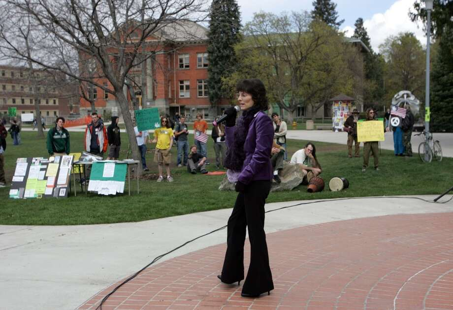 Montana voters said yes to Initiative 148 by a 62 percent margin in 2004. However, the state legislature has significantly dialed back the law and cut out many medical card holders as well as shutting down operations.Photo: Medical marijuana user Angel Raich speaks to students at the University of Montana during a marijuana rights demonstration April 20, 2007 in Missoula, Montana. Photo: Justin Sullivan, Getty Images