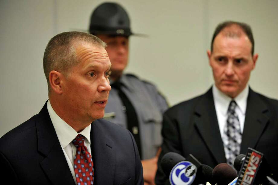 Lieutanant Robert Bartal  of the Pennsylvania State Police Hazleton Barracks speaks at a press conference at the Monroe County Pubic Safety Center on the shooting at the Ross Township Municipal Building that left 3 dead and 3 injured, Monday, Aug. 5, 2013 in Stroudsburg,  Pa. Police officials identified 59-year-old Rockne Newell as the shooter. Photo: Chris Post