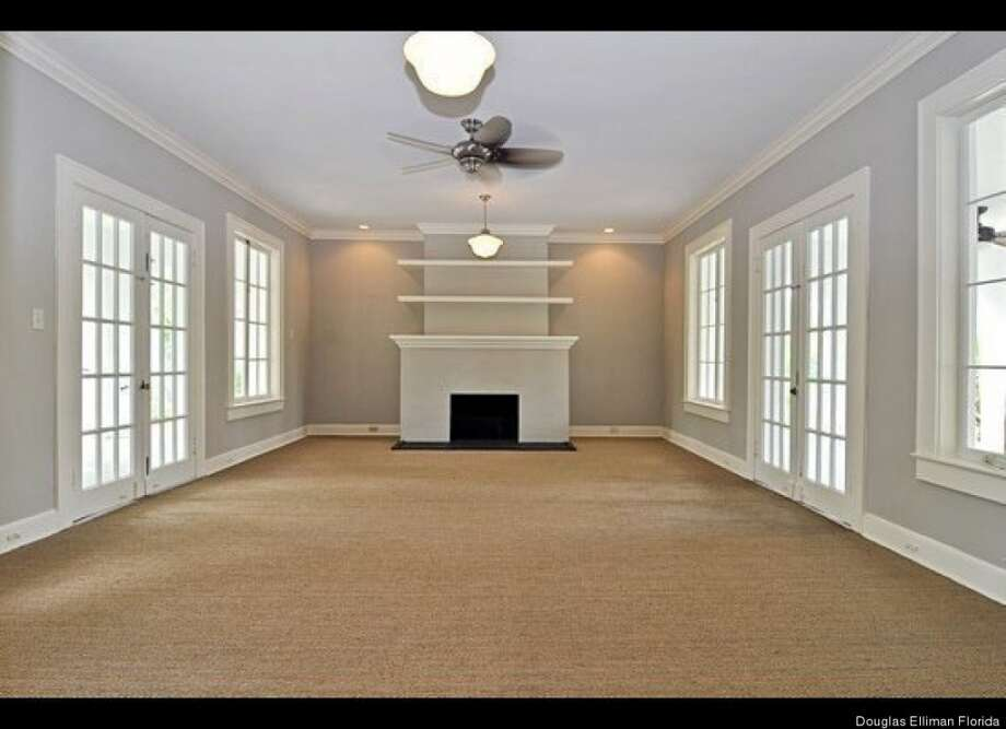 Living area, stripped of Capone or any other owner. Douglas Elliman Florida