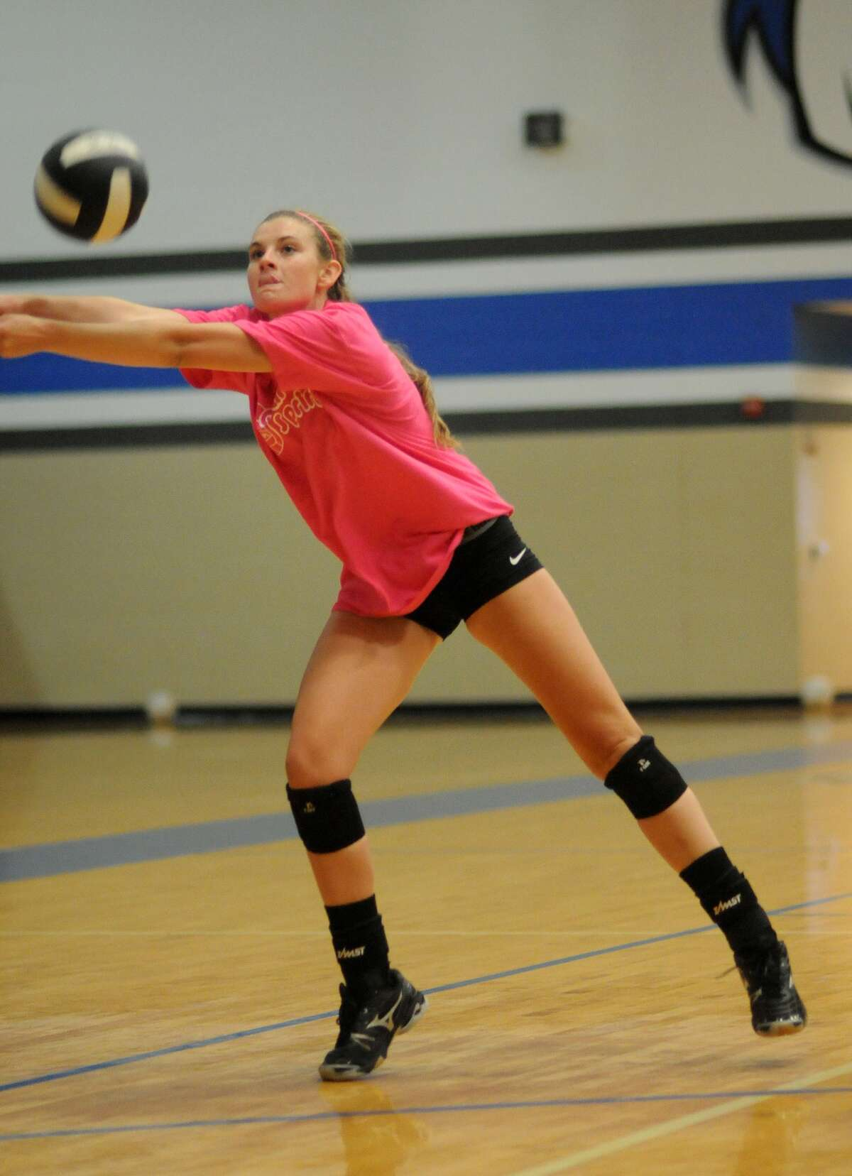 Clear Springs sophomore Kylie Jedlicka works the ball during practice.