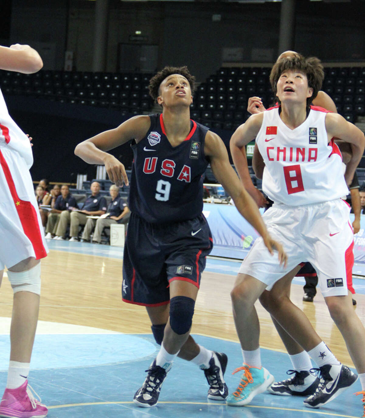 Briana Turner positions for one of her seven rebounds against China.