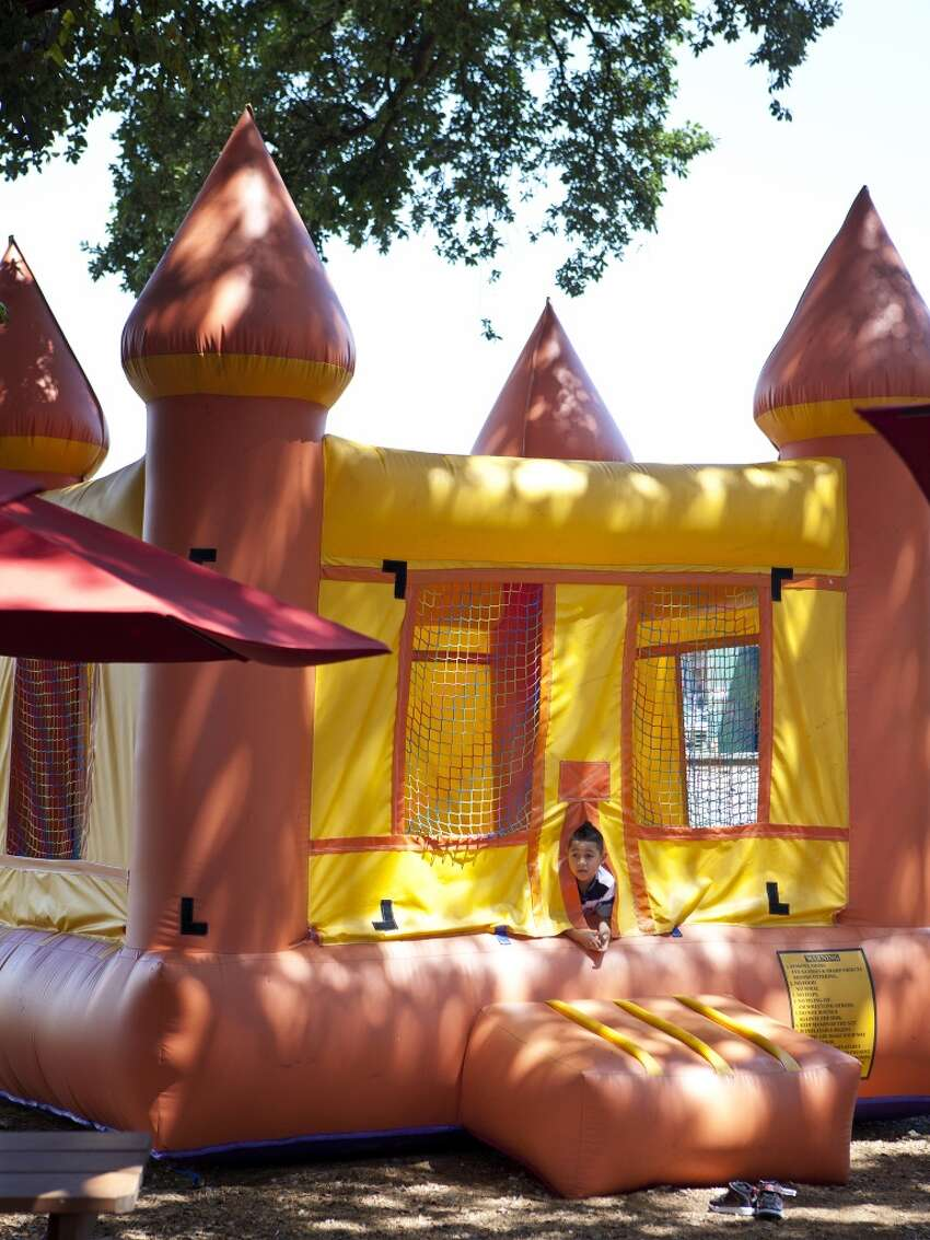 It's so much easier to enjoy a meal when your kids are distracted by this bouncy castle at Karancho's in Channelview.