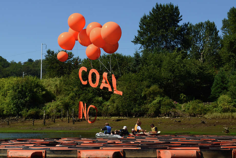 "A banner that reads ""Coal, No"" flies over the Duwamish on Monday. Photo: SY BEAN, SEATTLEPI.COM / SEATTLEPI.COM"