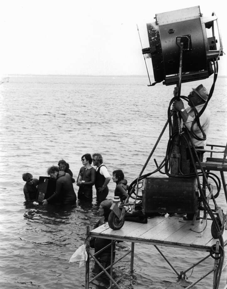 Steven Spielberg watching crew filming scene in 'Jaws', 1975. (Photo by Universal/Getty Images) Photo: Getty Images