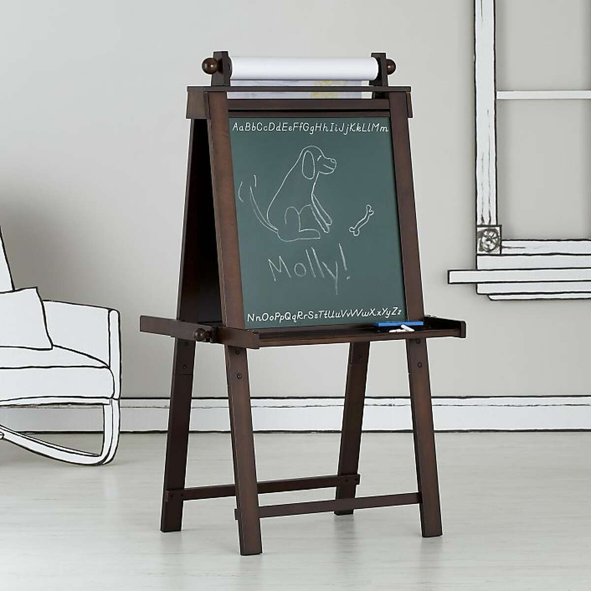 More: Easel Does It, $149, The Land of Nod (landofnod.com) If the name alone doesn t do it for you, all of the bells and whistles on this suped-up espresso-stained easel could very well do the trick. Doubling as a green chalkboard on one side and a white laminated dry erase board on the other, this wood art hub can accommodate a roll of paper and comes with holes for stashing paint cups as well trays for chalk, markers, crayons and brushes. Art supplies are sold separately. It measures 30 inches wide, 23 inches deep and 51 inches high.