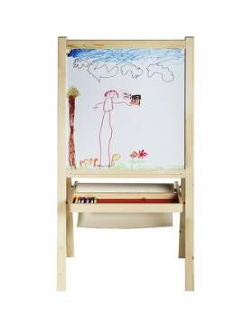 Less: Mala Easel, $14.99, from Ikea (ikea.com) The low-cost alternative from Ikea folds up for easily stashing but that won t dampen the creativity of kids at work. Just like the former, little hands can switch from the chalkboard to the whiteboard. A wide tray can stow all kinds of art goodies and a bar can hold a roll of drawing paper, too. Paper is sold separately. This version measures 24 inches wide, 17 inches deep and 46 inches high.