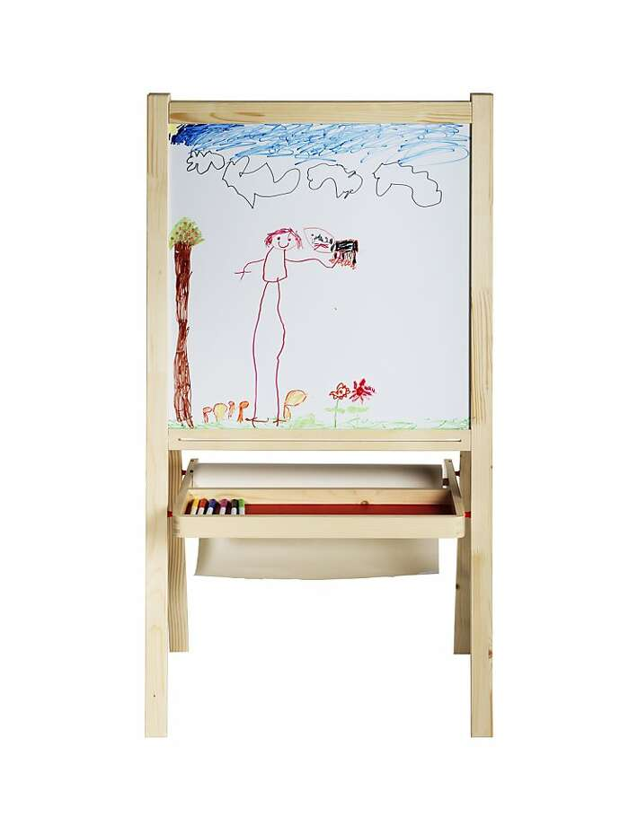 Less: Mala Easel, $14.99, from Ikea (ikea.com) The low-cost alternative from Ikea folds up for easily stashing but that won t dampen the creativity of kids at work. Just like the former, little hands can switch from the chalkboard to the whiteboard. A wide tray can stow all kinds of art goodies and a bar can hold a roll of drawing paper, too. Paper is sold separately. This version measures 24 inches wide, 17 inches deep and 46 inches high. Photo: Ikea