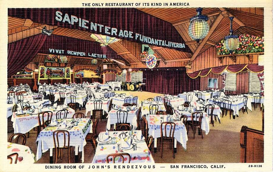 1942 Postcard view of the interior of John's Rendezvous showing the dining room with dozens of linen covered tables and chairs. Photo: Curt Teich Postcard Archives