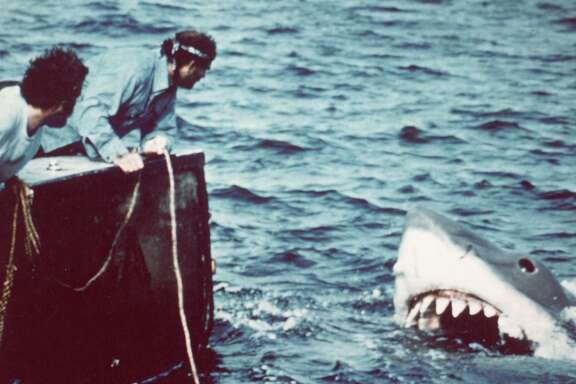 American actor Richard Dreyfuss (left) (as marine biologist Hooper) and British author and actor Robert Shaw (as shark fisherman Quint) look off the stern of Quint's fishing boat the 'Orca' at the terrifying approach of the mechanical giant shark dubbed 'Bruce' in a scene from the film 'Jaws' directed by Steven Spielberg, 1975. The movie, also starring Roy Scheider and Lorraine Gary, was one of the first 'Summer Blockbuster' films. (Photo by Universal Pictures courtesy of Getty Images)