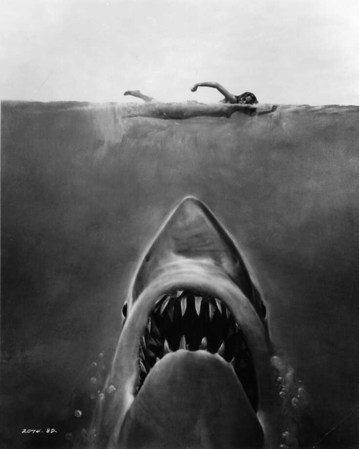 Susan Backlinie swimming as the Great White Shark swims up in publicity art for the film 'Jaws', 1975. (Photo by Universal/Getty Images) Photo: Getty Images