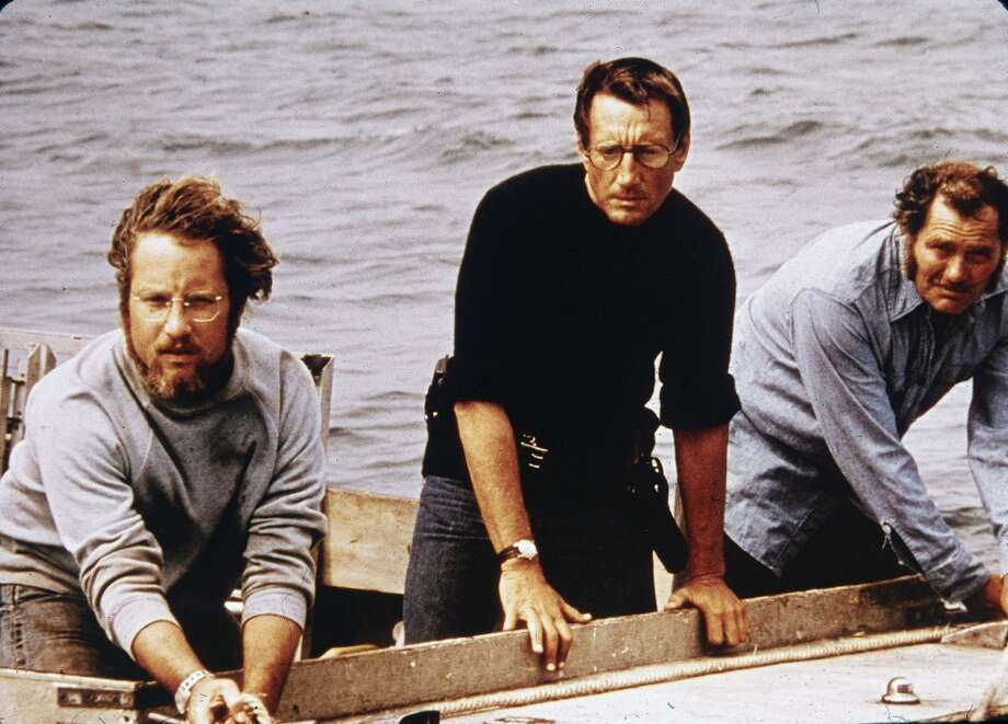L-R: American actors Richard Dreyfuss, Roy Scheider and Robert Shaw on board a boat in a still from the film, 'Jaws,' directed by Steven Spielberg, 1975. (Photo by Universal Studios/Courtesy of Getty Images) Photo: Getty Images