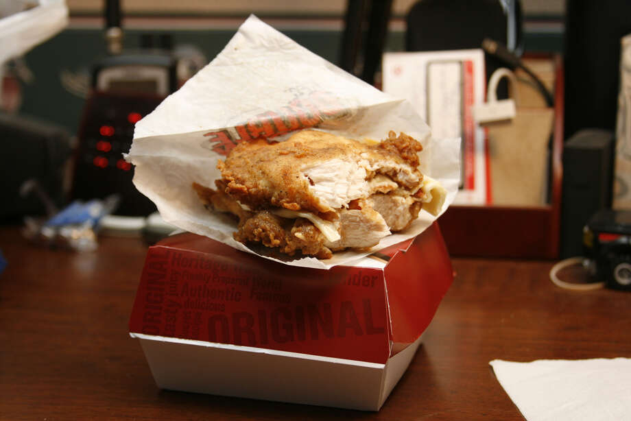 KFC's Double Down chicken sandwich: The king of the novelty sandwiches, the double down is bacon and cheese trapped between two chicken patties. Buy 10 and get your first valve replacement free. (Photo by Jay Reed via Flickr) Photo: Jay Reed Via Flickr