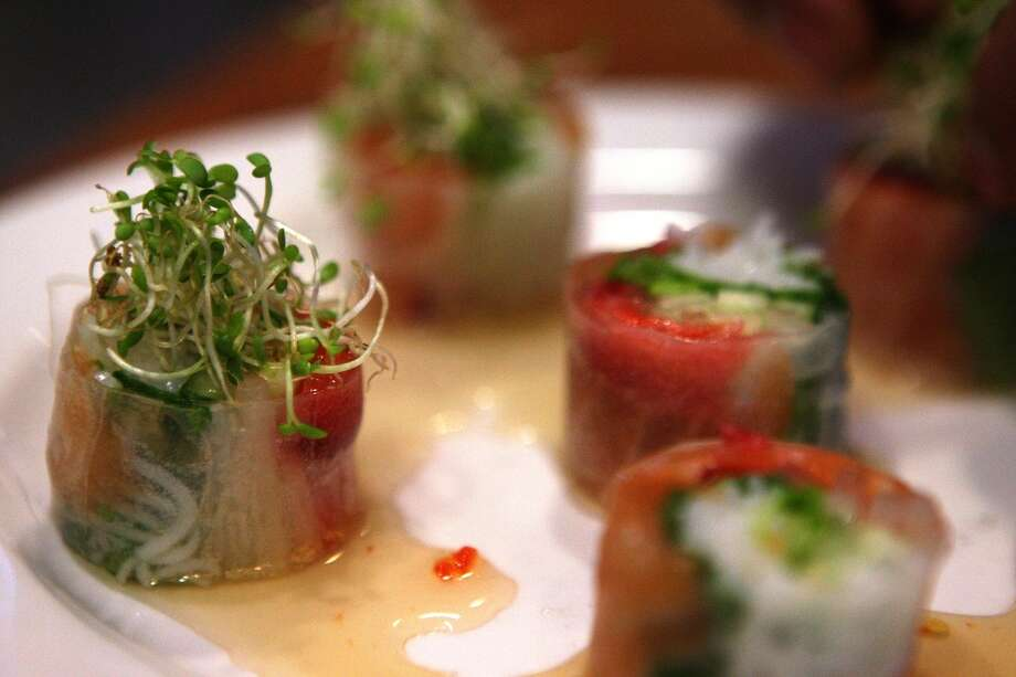One of the Butterfly signatures: Smoked salmon and strawberry salad rolls at Butterfly. Photo: Liz Hafalia, The Chronicle