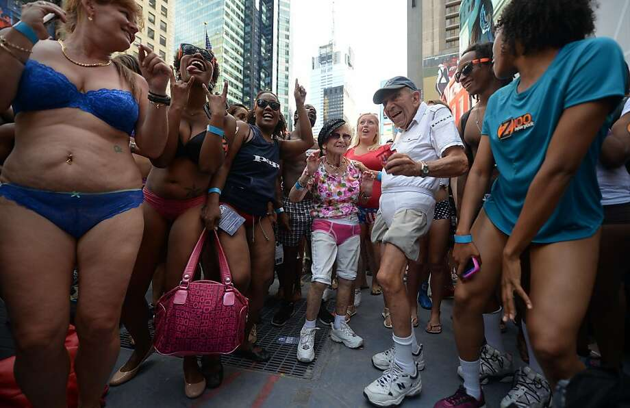 Underwear record bid fails: Uninhibited New Yorkers strip to bras and panties, boxers and briefs in Times Square in an attempt to break the Guinness World Record for most people gathered in their underwear. Alas, only 779 showed up in their skivvies, far short of the current record of 2,270. Photo: Emmanuel Dunand, AFP/Getty Images