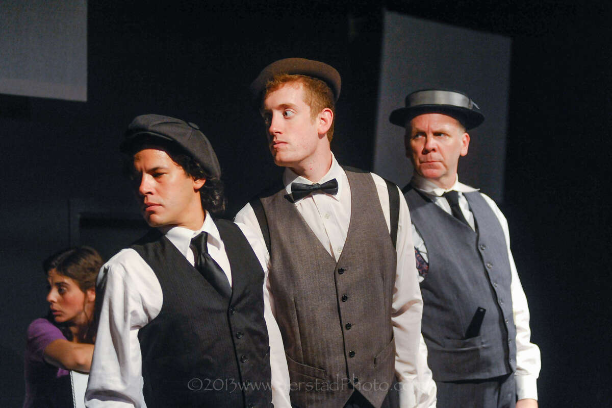 Richard David Anthony (from left), Dru Barcus and Andrew Thornton portray Buster Keaton at Overtime Theater.