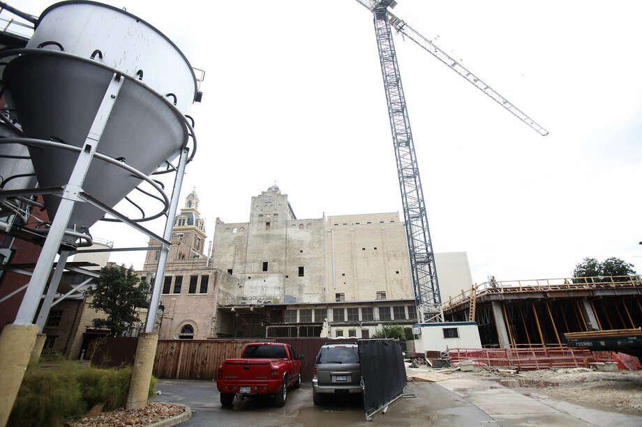 Construction is underway at the 146-room Hotel Pearl, to be located inside the 119-year-old brew house. Photo: Abbey Oldham / San Antonio Express-News