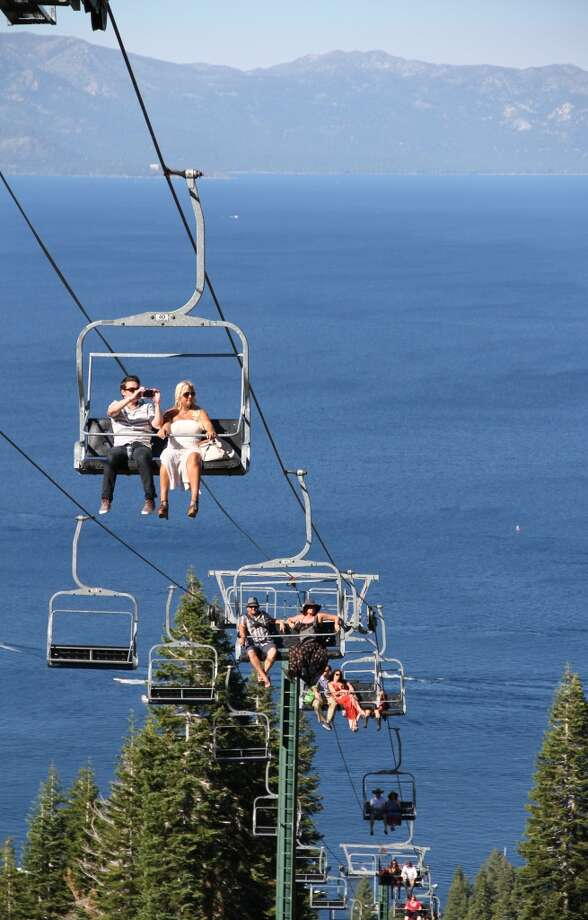 Diners head up the Quail chairlift on the way to Homewood's Farm to Peak dinner on July 6, 2013. (Courtesy Homewood)