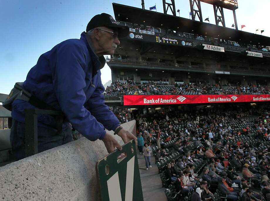 William E. Germany at AT&T Park gets a K sign ready to signal a strikeout before the Giants' game with the Cincinnati Reds. Photo: Lance Iversen, The Chronicle