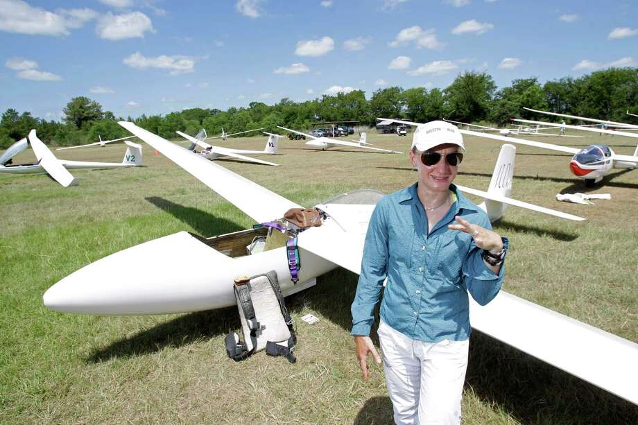 Sylvia Grandstaff talks as readies her glider during the Region 10 Championship at the Soaring Club of Houston Monday, Aug. 5, 2013, in Waller. Photo: Melissa Phillip, Houston Chronicle / © 2013  Houston Chronicle