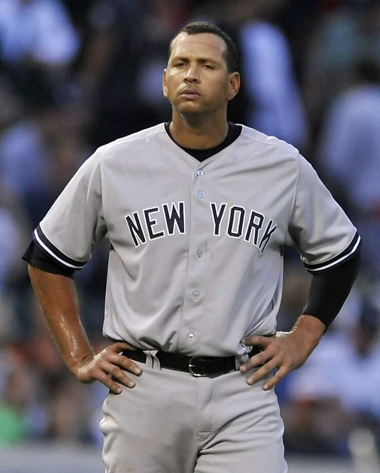 New York Yankees' Alex Rodriguez looks on during the third inning of a baseball game against the Chicago White Sox in Chicago, Monday, Aug. 5, 2013. (AP Photo/Paul Beaty) Photo: Paul Beaty, Associated Press