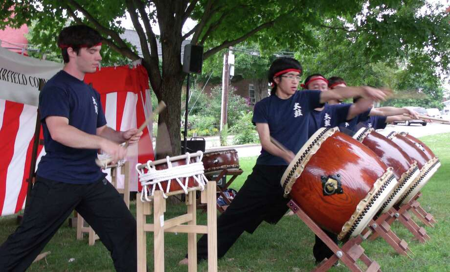 The Japan Society of Fairfield County hosts a Bon Odori Festival at Jesup Green in Westport on Saturday, Aug. 17. A taiko drum group from the University of Connecticut performed at the festival last year. Photo: Todd Tracy / Westport News contributed