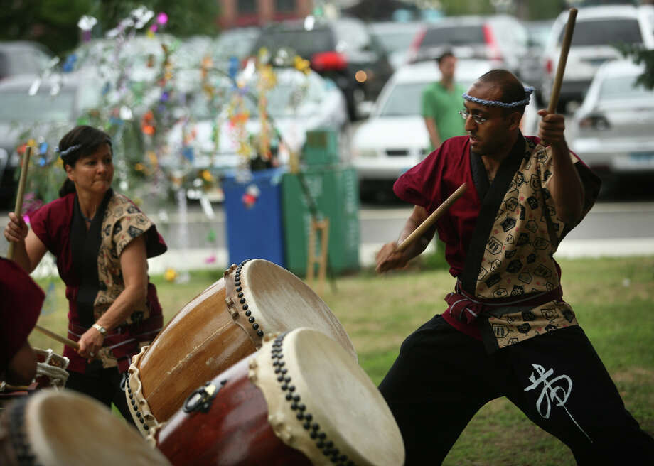 The Japan Society of Fairfield County hosts a Bon Odori Festival at Jesup Green in Westport on Saturday, Aug. 17. The Japanese drumming group O-Tatsu Taiko played at the festival in 2010. Photo: Brian A. Pounds, ST / Connecticut Post
