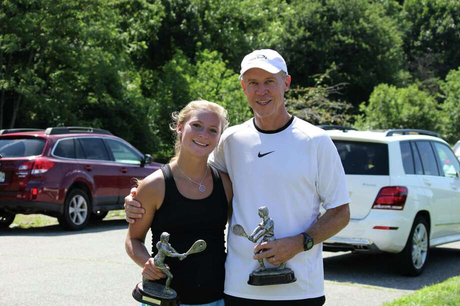 Elizabeth Griffin and her father Bill won the Open Mixed Doubles Division championship at the 2013 Greenwich Town Tennis Tournament Sunday at Binney Park. Photo: Richard Terker/Contributed Photo