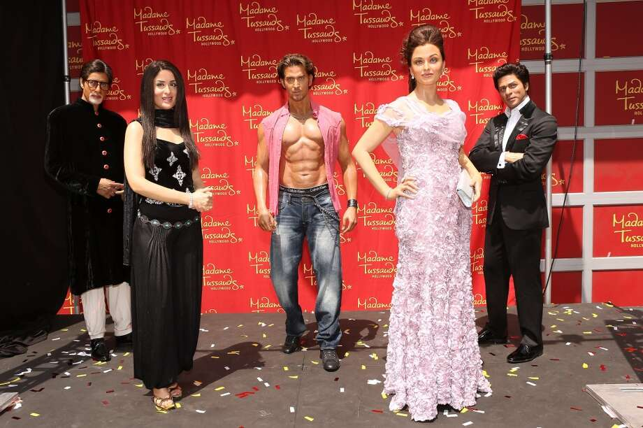 Bollywood stars (from left)   Amitabh Bachchan, Kareena Kapoor, Hrithik Roshan, Aishwarya Rai and Shah Rukh Khan recently made their debut in wax at Madame Tussauds in Hollywood. Photo: Jesse Grant, WireImage