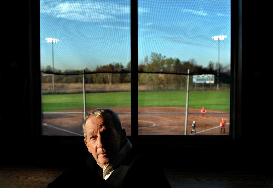 Frank DeLuca sits in the press box at DeLuca Field in Stratford, Conn. April 26, 2006. DeLuca passed away Monday, Aug. 5th, 2013. He was 84. Photo: File Photo/John Galayda, File Photo / Connecticut Post File Photo